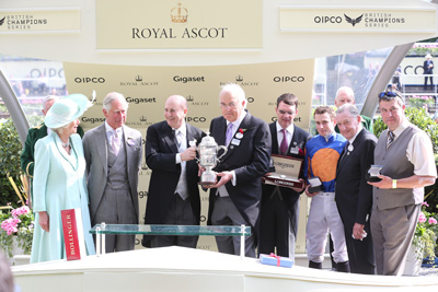 ROYAL ASCOT TUES 16 JUNE 2015  PICTURE: CAROLINE NORRIS     THE DUCHESS AND DUKE OF CORNWALL PRESENTING THE TROPHIES FOR THE ST JAMES'S PALACE STAKES WON BY GLENEAGLES TO MICHAEL TABOR, JOHN MAGNIER, AIDAN O'BRIEN, RYAN MOORE, DERRICK SMITH AND JAMES LAWRENCE