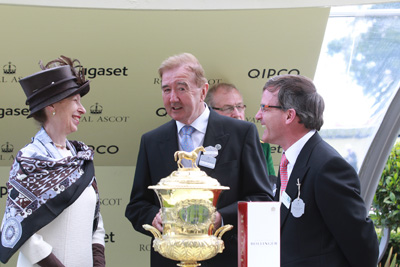 ROYAL ASCOT WED 17 JUNE 2015  PICTURE: CAROLINE NORRIS     PRINCESS ANNE WITH DERMOT WELD AND JOHN OSBORNE AFTER FREE EAGLE HAD WON THE PRINCE OF WALES'S STAKES