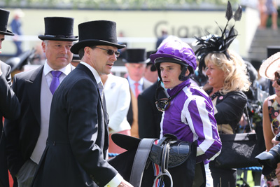 ROYAL ASCOT THURS 18 JUNE 2015  PICTURE: CAROLINE NORRIS     AIDAN O'BRIEN AND RYAN MOORE AFTER WATERLOO BRIDGE HAD WON THE NORFOLK STAKES
