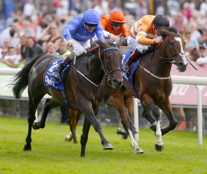 YORK 20-8-2015. The Darley Yorkshire Oaks. PLEASCACH and Kevin Manning (left) beats off COVERT LOVE (Pat Smullen) to win for trainer Jim Bolger. Photo HEALY RACING.