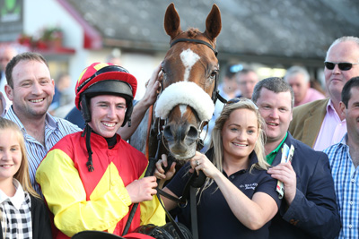 BELLEWSTOWN THURS 2 JULY 2015  PICTURE: CAROLINE NORRIS     BE SEEING YOU WITH JACK KENNEDY AND GORDON ELLIOTT AFTER WINNING THE SEAMUS MULVANEY CROCKAFOTHA HANDICAP HURDLE