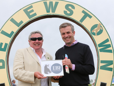 BELLEWSTOWN THURS 2 JULY 2015  PICTURE: CAROLINE NORRIS     ED MCAULEY MAKING THE PRESENTATION FOR THE IRISH STALLION FARMS EBF MAIDEN WON BY GREYSCAPE TO PATRICK PRENDERGAST
