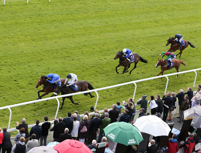 CURRAGH SAT 18 JULY 2015  PICTURE: CAROLINE NORRIS     FINAL FRONTIER RIDDEN BY SHANE FOLEY WINNING THE JEBEL ALI RACECOURSE & STABLES ANGLESEY STAKES FROM MISS KATIE MAE RIDDEN BY COLIN KEANE, 2ND, QUEEN OF SICILY RIDDEN BY KEVIN MANNING, 3RD, ROGUES' GALLERY RIDDEN BY PAUL MULRENNAN, 4TH, AND ANTELOPE CANYON RIDDEN BY JOSEPH O'BRIEN, 5TH.