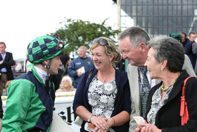 CURRAGH SAT 18 JULY 2015  PICTURE: CAROLINE NORRIS     PAT SMULLEN, SABRINA HARTY AFTER HAVE A NICE DAY HAD WON THE KILSARAN INTERNATIONAL HANDICAP