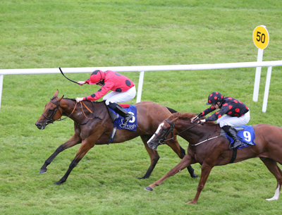 CURRAGH SUN 19 JULY 2015  PICTURE: CAROLINE NORRIS     CHAMPAGNE OR WATER RIDDEN BY BILLY LEE WINNING THE FILLIES HANDICAP FROM GALLOPE RIDDEN BY SHANE FOLEY