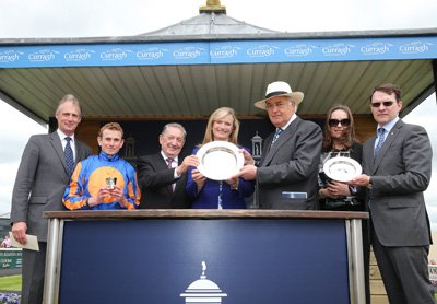 CURRAGH SAT 23 MAY 2015  PICTURE: CAROLINE NORRIS     EDMOND MAHONY, LEFT, AND HIS WIFE FIONA PRESENTING THE TROPHIES FOR THE TATTERSALLS IRISH 2,000 GUINEAS WON BY GLENEAGLES TO RYAN MOORE, DERRICK SMITH, JOHN MAGNIER, ANNE MARIE AND AIDAN O'BRIEN