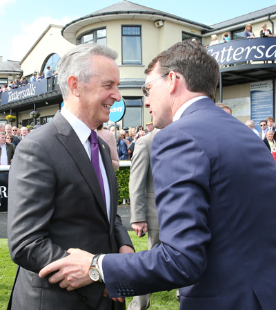 CURRAGH SUN 24 MAY 2015  PICTURE: CAROLINE NORRIS     AIDAN O'BRIEN CONGRATULATES WINNING TRAINER JIM BOLGER AFTER THE TATTERSALLS IRISH 1,000 GUINEAS WON BY PLEASCACH