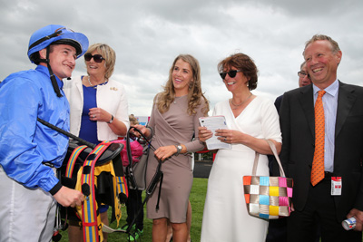 CURRAGH SAT 27 JUNE 2015  PICTURE: CAROLINE NORRIS     SHANE FOLEY, JESSICA ANKATE HARRINGTON, JULIETTE AND PATRICK COOPER AFTER FINAL FRONTIER HAD WON THE DUBAI DUTY FREE FINEST SURPRISE EBF MAIDEN