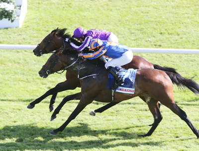 CURRAGH SUN 28 JUNE 2015  PICTURE: CAROLINE NORRIS     BONDI BEACH RIDDEN BY SEAMUS HEFFERNAN, FAR SIDE, WINNING THE AT THE RACES CURRAGH CUP FROM ORDER OF ST GEORGE RIDDEN BY RYAN MOORE, 2ND.