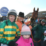 FAIRYHOUSE SUN 10 JANUARY 2016  PICTURE: CAROLINE NORRIS   NEARLY NAMA'D WITH BARRY GERAGHTY, SANDRA HUGHES AND HER DAUGHTER ALEXANDRA AND PAT CLARKE AFTER WINNING THE UNDERWRITING EXCHANGE DAN MOORE MEMORIAL HANDICAP STEEPLECHASE
