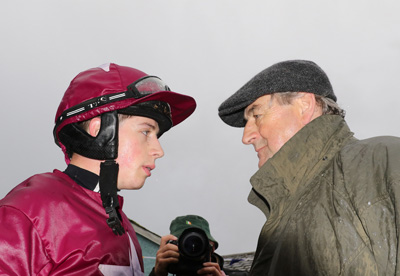 CLONMEL THURS 12 NOVEMBER 2015  PICTURE: CAROLINE NORRIS    BRYAN COOPER AND NOEL MEADE AFTER ROAD TO RICHES HAD WON THE CLONMEL OIL STEEPLECHASE