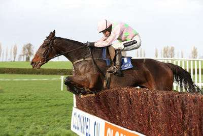 CLONMEL THURS 12 NOVEMBER 2015  PICTURE: CAROLINE NORRIS    VROUM VROUM MAG RIDDEN BY RUBY WALSH JUMPING THE LAST FENCE TO WIN THE EBF TA MORRIS MEMORIAL MARES STEEPLECHASE