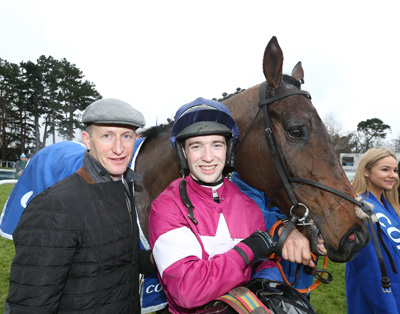 LEOPARDSTOWN SUN 17 JANUARY 2016  PICTURE: CAROLINE NORRIS       EMPIRE OF DIRT WITH COLM MURPHY AND JONATHAN MOORE AFTER WINNING THE CORAL.IE LEOPARDSTOWN HANDICAP STEEPLECHASE