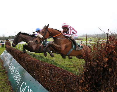 GOWRAN PARK THURS 21 JANUARY 2016  PICTURE: CAROLINE NORRIS     MY MURPHY RIDDEN BY ROBERT POWER, FAR SIDE, WINNER, AND MALA BEACH RIDDEN BY DAVY RUSSELL, NEAR CAMERA, 2ND, JUMPING THE LAST FENCE IN THE GOFFS THYESTES STEEPLECHASE