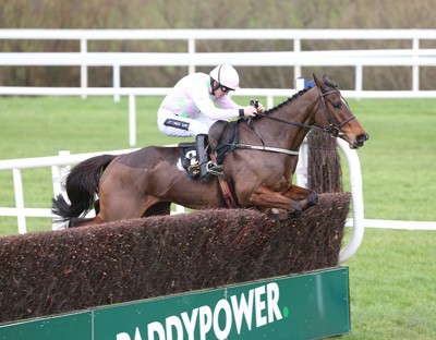 LEOPARDSTOWN SUN 24 JANUARY 2016  PICTURE: CAROLINE NORRIS      DOUVAN RIDDEN BY RUBY WALSH JUMPING THE LAST FENCE TO WIN THE FRANK WARD SOLICITORS ARKLE NOVICE STEEPLECHASE