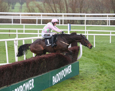 LEOPARDSTOWN SAT 26 DECEMBER 2015  PICTURE: CAROLINE NORRIS     DOUVAN RIDDEN BY PATRICK MULLINS, WINNER, JUMPING THE LAST FENCE IN THE RACING POST NOVICE STEEPLECHASE
