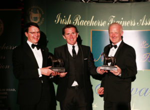 IRTA FLAT AND NH AWARDS. HOTEL KEADEEN, NEWBRIDGE. WED 4 MAY 2016 PICTURE: CAROLINE NORRIS SIR ANTHONY MCCOY PRESENTING CHAMPION FLAT AND NH TRAINERS, AIDAN O'BRIEN AND WILLIE MULLINS WITH THEIR AWARDS