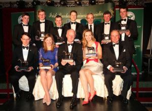 IRTA FLAT AND NH AWARDS. HOTEL KEADEEN, NEWBRIDGE. WED 4 MAY 2016 PICTURE: CAROLINE NORRIS IRTA FLAT AND NH AWARD WINNERS. STANDING, L-R: JACK KENNEDY, CONDITIONAL RIDER, CONNOR KING, APPRENTICE, PAT SMULLEN, FLAT JOCKEY, JAMIE MORRIS, SPECIAL RECOGNITION, RUBY WALSH, NH JOCKEY, EDDIE O'LEARY, NH OWNER, PATRICK MULLINS, AMATEUR. SEATED, L-R: AIDAN O'BRIEN, FLAT TRAINER, NINA CARBERRY, LADY RIDER, WILLIE MULLINS, HALL OF FAME AND NH TRAINER, TAMMY TWOMEY, FLAT OWNER, MICHAEL HALFORD, ALL WEATHER TRAINER