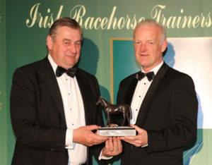 IRTA FLAT AND NH AWARDS. HOTEL KEADEEN, NEWBRIDGE. WED 4 MAY 2016 PICTURE: CAROLINE NORRIS IRTA CHAIRMAN NOEL MEADE INDUCTS WILLIE MULLINS INTO HALL OF FAME