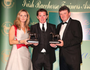 IRTA FLAT AND NH AWARDS. HOTEL KEADEEN, NEWBRIDGE. WED 4 MAY 2016 PICTURE: CAROLINE NORRIS SIR ANTHONY MCCOY PRESENTING CHAMPION FLAT AND NH OWNERS REPRESENTATIVES, TAMMY TWOMEY AND EDDIE O'LEARY WITH THE AWARDS ON BEHALF OF SUE MAGNIER AND GIGGINSTOWN