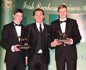 IRTA FLAT AND NH AWARDS. HOTEL KEADEEN, NEWBRIDGE. WED 4 MAY 2016 PICTURE: CAROLINE NORRIS SIR ANTHONY MCCOY PRESENTING LEADING CONDITIONAL RIDER JACK KENNEDY AND CHAMPION APPRENTICE CONNOR KING WITH THEIR AWARDS