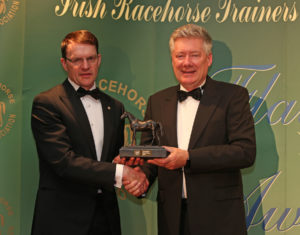 The IRTA Champions Dinner, Hotel Keadeen Sun 7 May 2017 Picture: Caroline Norris Aidan O'Brien accepts Champion 2016 Flat Trainer award from Joe Connolly