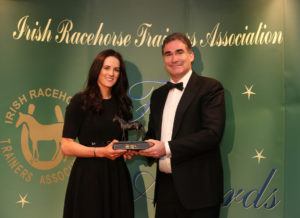The IRTA Champions Dinner, Hotel Keadeen Sun 7 May 2017 Picture: Caroline Norris Champion Conditional Rider 2016/17 Rachael Blackmore, accepts her award from Martin O'Donnell
