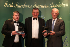 The IRTA Champions Dinner, Hotel Keadeen Sun 7 May 2017 Picture: Caroline Norris Noel Meade presenting Leading and Champion National Hunt Trainers 2016/17, Gordon Elliott and Willie Mullins, with their awards