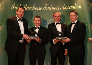 The IRTA Champions Dinner, Hotel Keadeen Sun 7 May 2017 Picture: Caroline Norris Gerry Aherne and Gareth Connolly preseting Champion Flat and National Hunt jockeys, Pat Smullen and Ruby Walsh with their awards